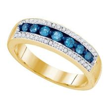 10K Yellow Gold Jewelry 0.52 ctw White Diamond & Blue Diamond Ladies Ring - GD#75882