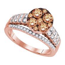 14K Rose Gold Jewelry 1.5 ctw White Diamond & Cognac Diamond Ladies Ring - GD#92965