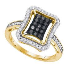 10K Yellow Gold Jewelry 0.50 ctw White Diamond & Black Diamond Ladies Ring - GD#89584