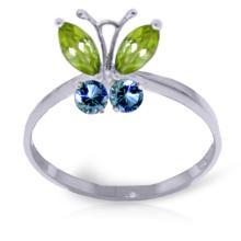 Genuine 0.6 ctw Peridot & Blue Topaz Ring Jewelry 14KT White Gold - GG#2345