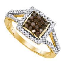 10K Yellow Gold Jewelry 0.50 ctw White Diamond & Cognac Diamond Ladies Ring - GD#89557