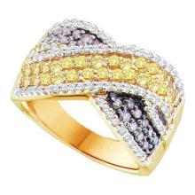 14K Yellow Gold Jewelry 1.32 ctw White Diamond & Cognac Diamond Ladies Ring - GD#52028