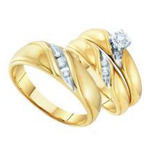 10K Yellow Gold Jewelry 0.15 ctw Diamond Trio Ring Set - GD#9370