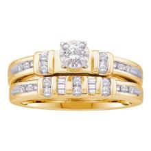10K Yellow Gold Jewelry 0.28 ctw Diamond Bridal Ring Set - GD#22570
