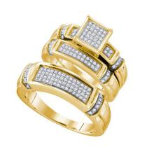 Fine Silver Jewelry 0.40 ctw Diamond Trio Ring Set - GD#63057