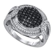 Fine Silver Jewelry 0.24 ctw White Diamond & Blue Diamond Ladies Ring - GD#65702