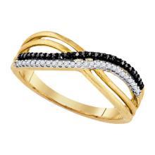 Fine Silver Jewelry 0.15 ctw White Diamond & Black Diamond Ladies Ring - GD#81402