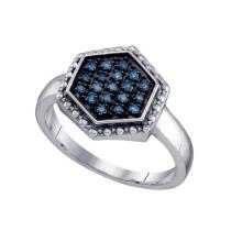 Fine Silver Jewelry 0.18 ctw White Diamond & Blue Diamond Ladies Ring - GD#64387