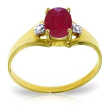 Genuine 1.26 ctw Ruby & Diamond Ring Jewelry 14KT Yellow Gold - GG#4249
