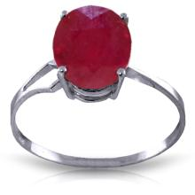 Genuine 3.5 ctw Ruby Ring Jewelry 14KT White Gold - GG#4174