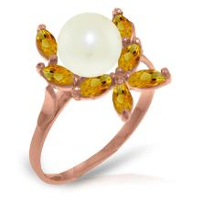 Genuine 2.65 ctw Pearl & Citrine Ring Jewelry 14KT Rose Gold - GG-3490-REF#28P5H