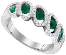 14K White Gold Jewelry 0.85 ctw Emerald & Diamond Ladies Ring - GD#95379
