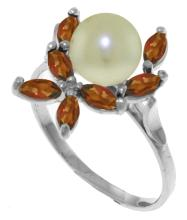 Genuine 2.65 ctw Pearl & Garnet Ring Jewelry 14KT White Gold - GG#3492