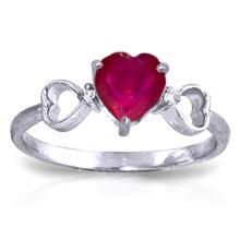 Genuine 1.01 ctw Ruby & Diamond Ring Jewelry 14KT White Gold - GG-4341-REF#43A2K
