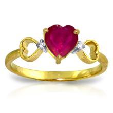 Genuine 1.01 ctw Ruby & Diamond Ring Jewelry 14KT Yellow Gold - GG-4341-REF#43H2X