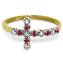 Genuine 0.24 ctw Ruby & Diamond Ring Jewelry 14KT Yellow Gold - GG-5054-REF#35T2A
