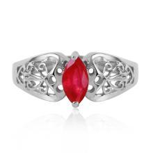 Genuine 0.20 CTW Ruby Ring Jewelry 14KT White Gold - GG-4619-REF#48F4Z