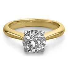 14K 2Tone Gold Jewelry 1.50 ctw Natural Diamond Solitaire Ring - WJA1321 - REF#483W7Z