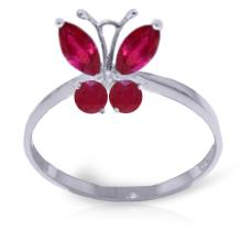 Genuine 0.60 ctw Ruby Ring Jewelry 14KT White Gold - GG-2343-REF#30H5X