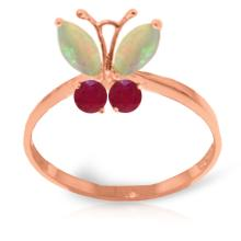 Genuine 0.70 ctw Opal & Ruby Ring Jewelry 14KT Rose Gold - GG-2347-REF#30A5K