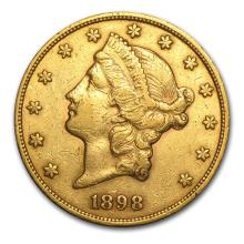 One $20 Liberty Gold Double Eagle VF (Random Years) - WJA88600