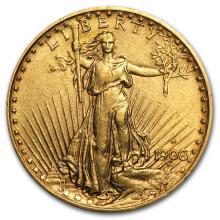 One $20 Saint-Gaudens Gold Double Eagle XF (Random Years) - WJA117