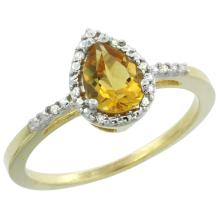 Natural 1.53 ctw citrine & Diamond Engagement Ring 14K Yellow Gold - SC#CY409152 - REF#R19F2