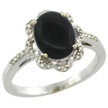 Natural 1.89 ctw Onyx & Diamond Engagement Ring 14K White Gold - SC#CW417105 - REF#N27Y7