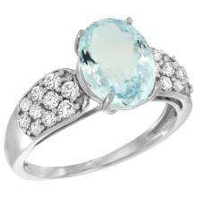 Natural 2.45 ctw aquamarine & Diamond Engagement Ring 14K White Gold - SC#R289771W12 - REF#A51Z7