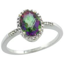 Natural 1.2 ctw Mystic-topaz & Diamond Engagement Ring 14K White Gold - SC#CW408113 - REF#R17F5