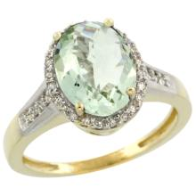 Natural 2.49 ctw Green-amethyst & Diamond Engagement Ring 10K Yellow Gold - SC#CY902109 - REF#W24N1