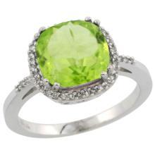 Natural 4.11 ctw Peridot & Diamond Engagement Ring 10K White Gold - SC#CW911121 - REF#W28N9
