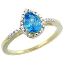 Natural 1.53 ctw swiss-blue-topaz & Diamond Engagement Ring 10K Yellow Gold - SC#CY904152 - REF#F14X3
