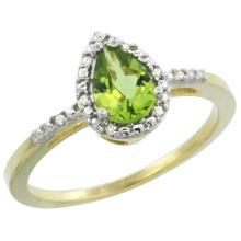 Natural 1.53 ctw peridot & Diamond Engagement Ring 10K Yellow Gold - SC#CY911152 - REF#V14T3