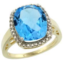 Natural 5.28 ctw Swiss-blue-topaz & Diamond Engagement Ring 10K Yellow Gold - SC#CY904124 - REF#G31V1