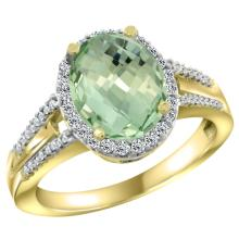 Natural 2.72 ctw green-amethyst & Diamond Engagement Ring 14K Yellow Gold - SC#CY402174 - REF#R40F9