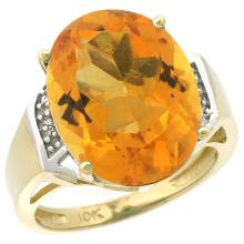 Natural 11.02 ctw Citrine & Diamond Engagement Ring 14K Yellow Gold - SC#CY409131 - REF#G49V7