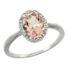 Natural 1.22 ctw Morganite & Diamond Engagement Ring 10K White Gold - SC#CW913101 - REF#W18N7