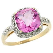 Natural 3.92 ctw Pink-topaz & Diamond Engagement Ring 14K Yellow Gold - SC#CY406136 - REF#R26F4