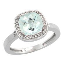 Natural 3.94 ctw Aquamarine & Diamond Engagement Ring 10K White Gold - SC#CW912151 - REF#M39U5