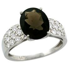 Natural 2.75 ctw smoky-topaz & Diamond Engagement Ring 14K White Gold - SC#R289771W07 - REF#Z44W2