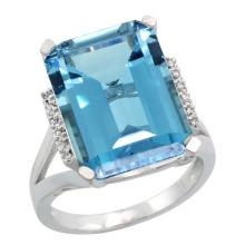 Natural 12.13 ctw London-blue-topaz & Diamond Engagement Ring 14K White Gold - SC#CW405143 - REF#M56U8
