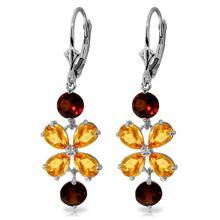 Genuine 5.32 ctw Citrine & Garnet Earrings Jewelry 14KT White Gold - GG#1525