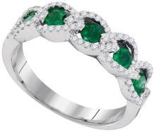 14K White Gold Jewelry 0.82 ctw Emerald & Diamond Ladies Ring - GD#95380