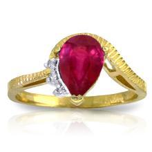 Genuine 1.52 ctw Ruby & Diamond Ring Jewelry 14KT Yellow Gold - GG-2978-REF#56R5P