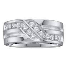 14K White Gold Jewelry 0.50 ctw Diamond Men's Ring - GD#27474 - REF#G72V1