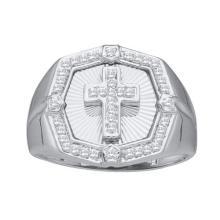 14K White Gold Jewelry 0.27 ctw Diamond Men's Ring - GD#42151 - REF#H39N7