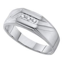 10K White Gold Jewelry 0.03 ctw Diamond Men's Ring - GD#52738 - REF#V15T6