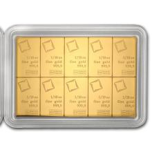 One 10x 1/10 oz Gold CombiBar? - Valcambi (In Assay) - WJA83827