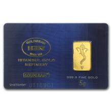 One 5 gram Gold Bar - Istanbul Gold Refinery (Ganesha, in Assay) - WJA79509